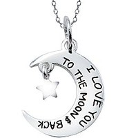 Moon & Star Pendant Sterling Silver