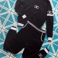 """Chanel"" Women Casual Knit Multicolor Stripe Logo Letter Long Sleeve Trousers Set Two-Piece Sportswear"