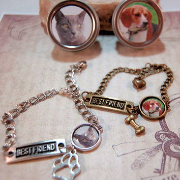 Pet Photo Bracelet Best Friend Custom Personalized Pet Jewelry with paw print /dog bone charm matching Gift Tin for Best Friends Pet Lovers