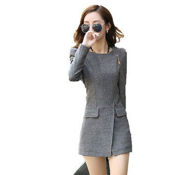 2015 autumn and winter women jacket solid peplum slim long zipper Outerwear Coat