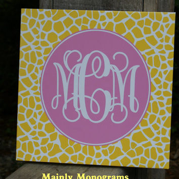 12 by 12, Monogram on Canvas-You Design Personalized, Unique, Canvas Wall Art