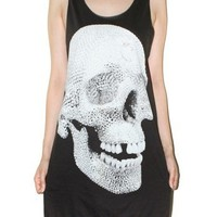 Crystal Skull Charcoal Black Tank Top Singlet Art Indie Shirt Size M