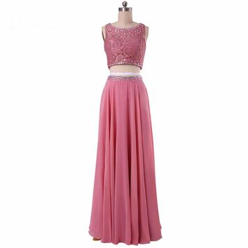 Long Evening Dresses Beaded Lace Chiffon A line Open back Dresses Two Piece Formal Evening gowns