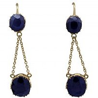 5.60 ct Sapphire and 10 ct Yellow Gold Drop Earrings - Antique Circa 1900