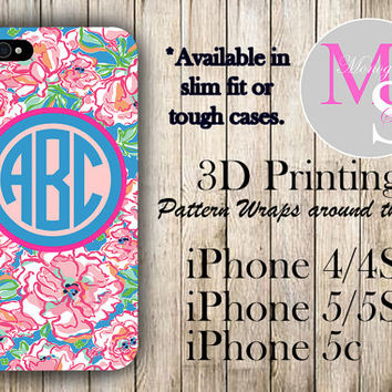 Monogram iPhone Case Personalized Phone Case Lilly Pulitzer Inspired Monogrammed iPhone Case Iphone 4S Iphone 4 iPhone 5C 5S, iPhone 5 #2019