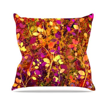 "Ebi Emporium ""Amongst the Flowers - Warm Sunset"" Pink Orange Throw Pillow"