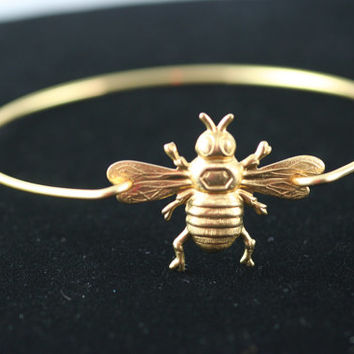 Queen Bee gold tone bangle