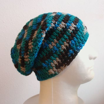 Mens Slouchy Beanie Striped - Crochet Slouch Beanie Mens Brown Turquoise Tan Beanie Hipster Hat Wool Slouchy Beanie - Fall Apparel - Unisex
