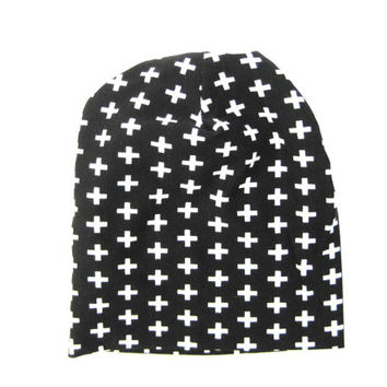 Kid's Slouchy Beanie, Toddler Beanie, Baby Beanie, Children's Clothing, Black and White, Toddler Hat, Child's Gift, Ready to Ship