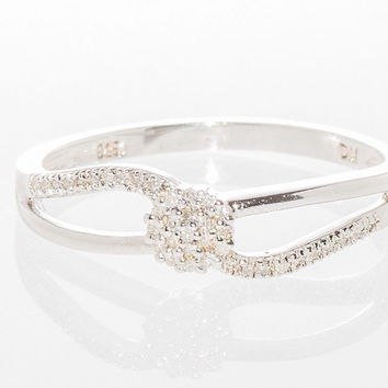 Split Shank Diamond Ring .15TCW - .925 Sterling Silver Micropave Size 7.5