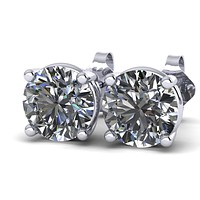Forever One Moissanite Stud Earrings (4 prongs)