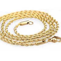 18K GP Gold Rope Chain Necklace