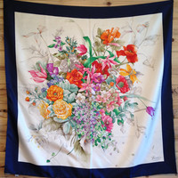 Vintage Hand Rolled Gucci Silk Scarf Floral Bouquet Botanical Rose Poppy Lilly Tulip Pyracantha Berries Hydrangea Harebell