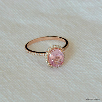 1.815 carat peach Padpardscha sapphire, Rose gold, diamonds halo engagement ring JOAN-841Pad