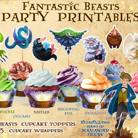 Fantastic Beasts Party Printables, Niffler cupcake wrapper, topper, Harry Potter party, Newt Scamander clipart, Bowtruckle, birthday, PDF