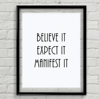 "Believe Quotes, ""Believe It, Expect It, Manifest It"", Printable Wall Art, Spiritual Quotes, Spiritual Gifts, Product Code: MP-4587"
