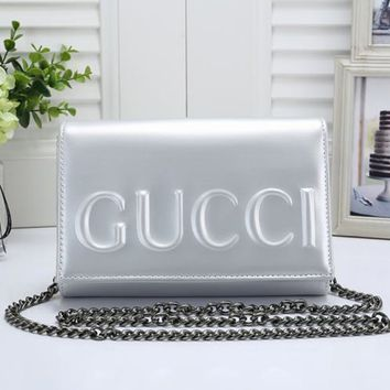 GUCCI Tide brand embossed letters women models fashion wild chain bag shoulder bag Messenger bag silver