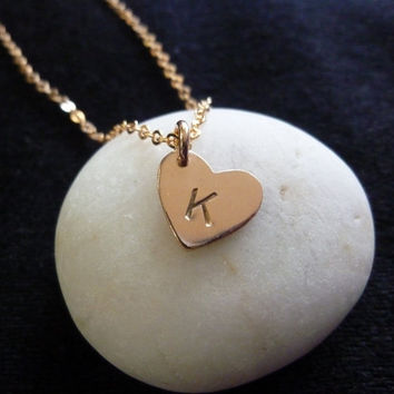rose gold initial heart charm necklace-initial heart charm necklace-rose gold initial necklace-gold initial necklace-rose gold necklace