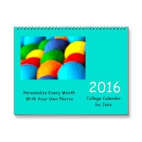 2016 Turquoise Collage Wall Calendar by Janz | Zazzle