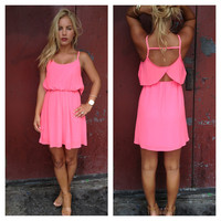 Open Back Spagetti Strap Chiffon Dress