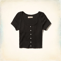Ribbed Button Up Cropped Tee