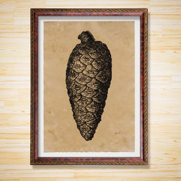 Rustic decor Pine cone print Forest poster