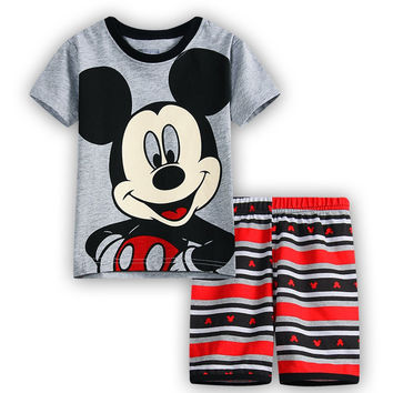 Summer Children's Cartoon Pijamas Kids Mickey Pyjamas Boys Girls Short Sleeve Pajamas Minnie Spiderman Sleepwears Clothing Sets