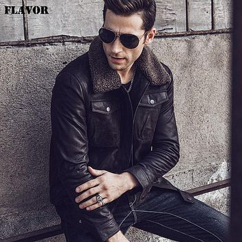 Men's Real Leather Jacket Genuine Leather jacket with faux fur collar male warm coat Genuine Leather Jacket