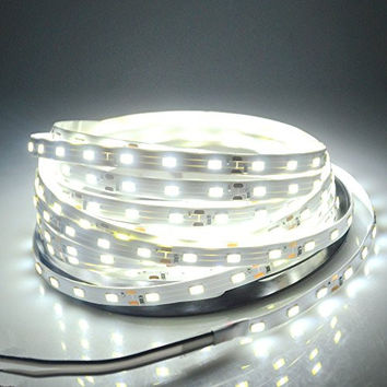 WenTop® Led Strip Lights SMD 3528 16.4 Ft (5M) 300leds 60leds/m White Flexible Rope Lighting Waterproof Tape Lights in DC Jack for Boats, Bathroom, Mirror, Ceiling and Outdoor - No Power Supply