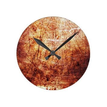 Cool Red Rust texture Background Round Clock