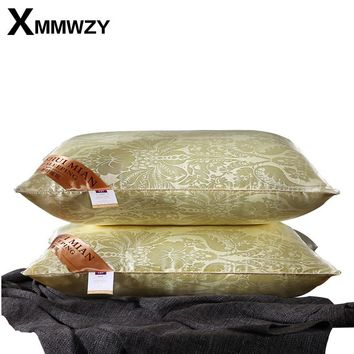 New Silk Bedding Pillow Luxury Rose Gold Natural Head Sleepping Pillows Filling Material European Style 48x74cm