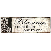 """Decorative Wood Wall Hanging Sign Plaque """"Blessings: Count Them One by One"""" Black Off White Home Decor"""