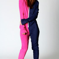 Tabby Two Colour Hooded Onesuit