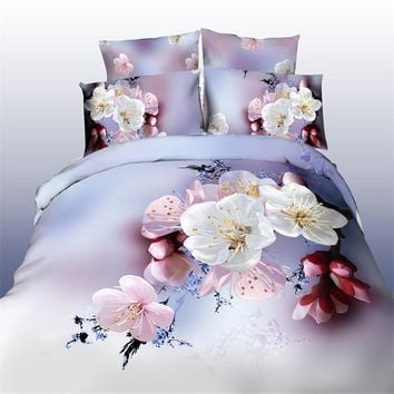 Cotton Bedding sets/Bed set/Bed clothes Linen 4 pcs (duvet cover+flat sheet+2 pillowcase) Queen size Free Shipping
