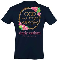 Simply Southern Preppy Collection God is My Arrow T-shirt for Women in Navy PRPARROW-NAVY