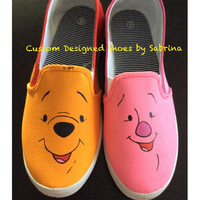 Winnie the Pooh Women's Slip-On Shoes, Birthday Gifts, Custom Designed