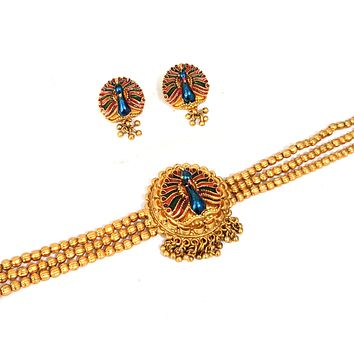 Chick collar style Peacock design Matte gold choker necklace and stud earring set - Design 2