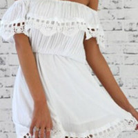White Off-Shoulder Boho Dress