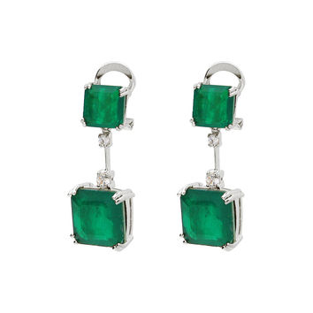 Emerald Doublet Squares Earrings