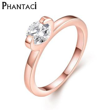 Female Classic Wedding Ring With Zircon Rose Gold Color Simple Style Crystal Engagement Rings For Women Jewelry 2017 New Hot