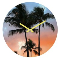 Deb Haugen sunset palm Round Clock