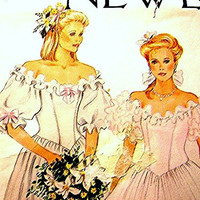 New Look Misses Off Shoulder Bridal Wedding Gown Dress Pattern size 8 10 12 14 16 18 UNCUT