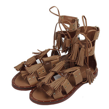 Tassel Gladiator Sandals Women Brand Design Women Sandals Lace up Sandalias Mujer Fashion Sandale Femme Party ShoesXWF0493-5