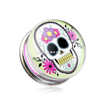 A Pair of Day of the Dead Sugar Skull Clear UV Double Flared Ear Gauge Plug
