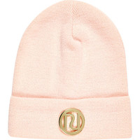 River Island Girl pink RI branded beanie hat