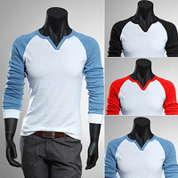 Contrast Colored Men's Long Sleeve Tee