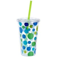Blue Polka Dot Double Wall Tumbler with Straw-Party City