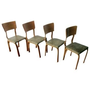 Pre-owned Thonet Molded Plywood & Naugahyde Chairs - S/4
