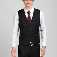 Hot Selling Business Formal Black Suit Vest For Men Party Prom Vest Bestman Groom Wedding Vests Terno Colete Masculino