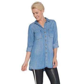 Front Curved, Side Stitch Button, Hem, Tunic with Roll-Tab Sleeve
